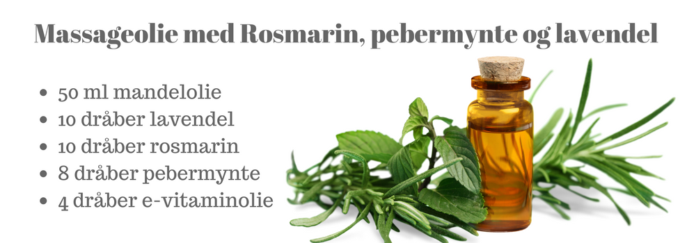 massageolie med lavendel pebermynte rosmarin